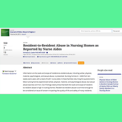 91. Resident-to-resident abuse in nursing homes as reported by nurse aides