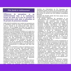 27. Différences de perceptions et de positionnements face à la maltraitance envers les aînés de la part de groupes de professionnels actifs dans la prévention et de la part de groupes de personnes retraitées