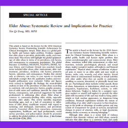 12. Elder Abuse: Systematic Review and Implications for Practice