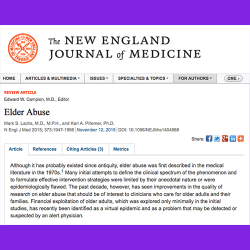 20. Elder Abuse. The New England Journal of Medicine