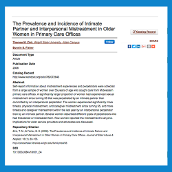 104. The prevalence and incidence of intimate partner and interpersonal mistreatment in older women in primary care offices