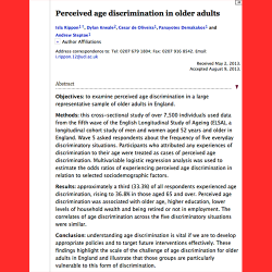 113. Perceived age discrimination in older adults. Age and ageing
