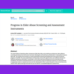 53. Progress in Elder Abuse Screening and Assessment Instruments