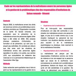 61. Etude sur les représentations de la maltraitance envers les personnes âgées et la gestion de la problématique chez des responsables d'institutions de Suisse romande – Résumé
