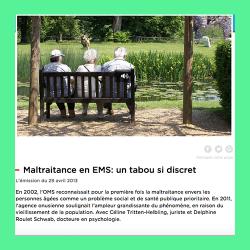 63. Maltraitance en EMS : un tabou si discret [Audio en ligne]