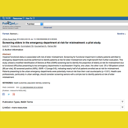 95. Screening elders in the emergency department at risk for mistreatment: A pilot study