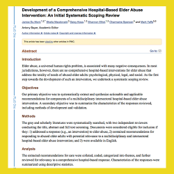 98. Development of a Comprehensive Hospital-Based Elder Abuse Intervention: An Initial Systematic Scoping Review