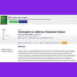 127. Strategies to address financial abuse