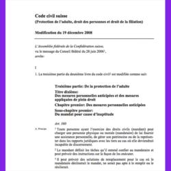 143. Code civil suisse (Protection de l'adulte, droit des personnes et droit de la filiation), modification du 19 décembre 2008 (RO 2011 725)